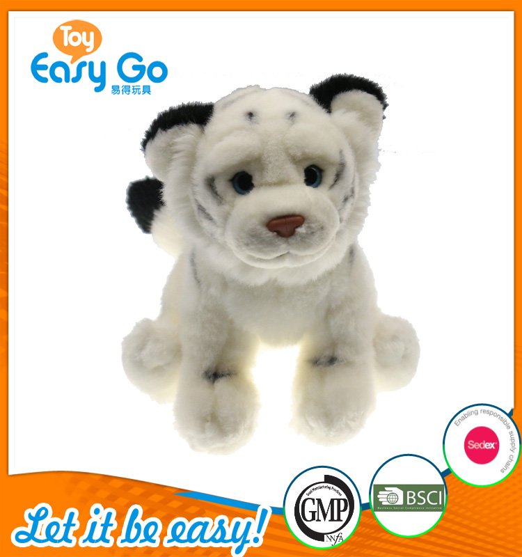 OEKO stuffed sitting white tiger with blue eyes