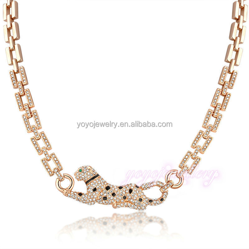 Wholesale jewelry leopard design 18k fake gold crystal tribal necklace