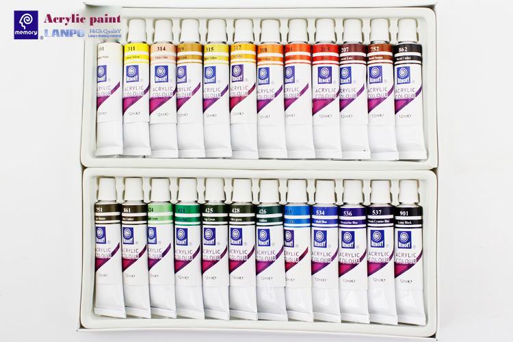 メモリ 18 色 12 ミリリットルプロフェッショナル高品質アクリル塗料セットオリジナルメーカー DIY キャンバスにペイント、木材、ガラス