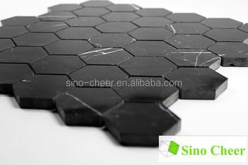 Nero marquina marmo nero barocco esagono levigato mattonelle di