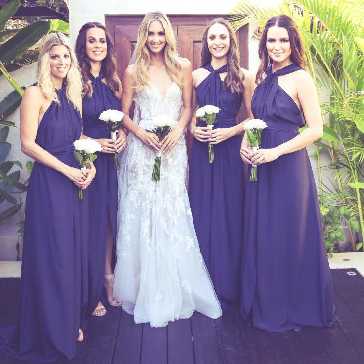 Perfecto Fotos De Vestidos De Dama De Color Púrpura Festooning ...