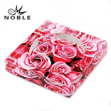 Rose Painted Square Crystal Ashtray For Business Or Wedding Gift.