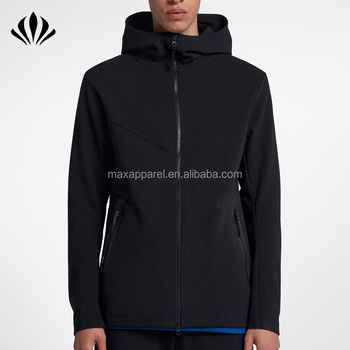 Mens sportswear two-way zipper tech hoodie side zip pockets men soft plain hoodie