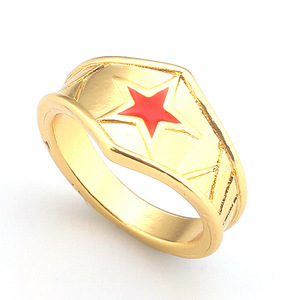 Wonder Woman Silver Gold Ring Star Superhero DC Comics Gift for Her