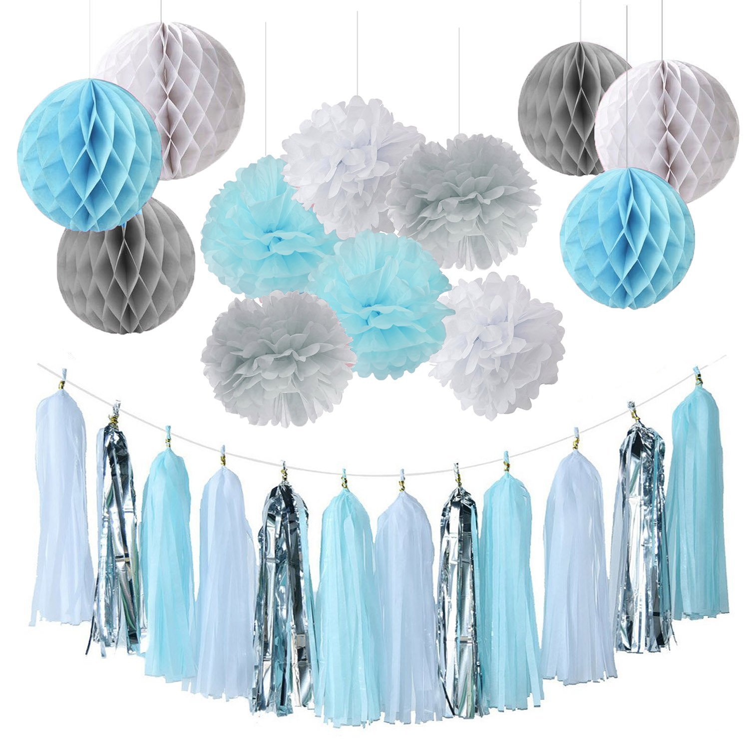 Qians Party Baby Boy Shower Decorations Backdrop Blue White Grey First Birthday Tissue Paper Pom Tassel Garland