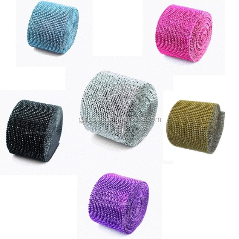 Diamond mesh wrap roll sparkle trimming rhinestone ribbon for decoration