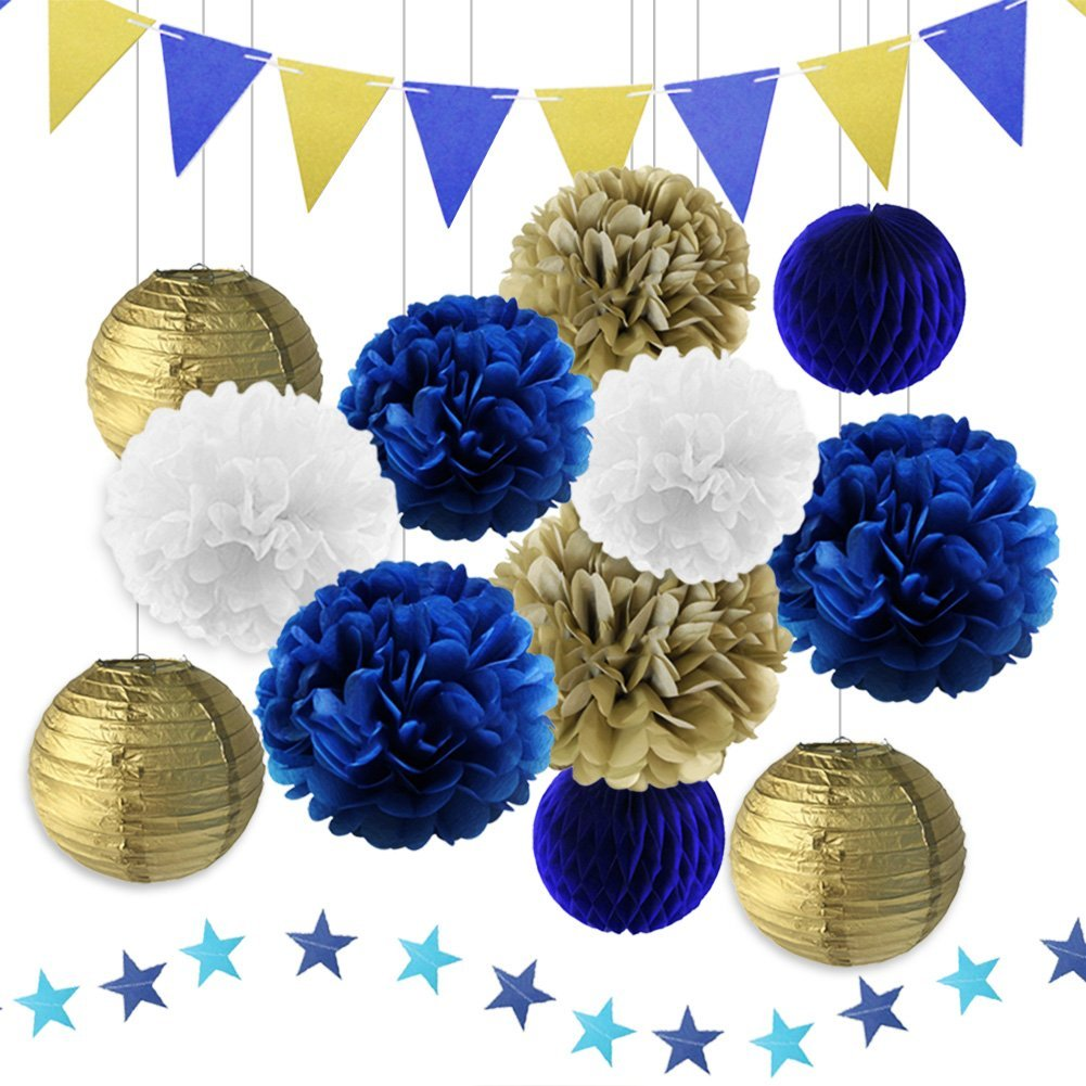 Get Quotations LUCK COLLECTION Navy Blue Birthday Party Decorations For Adults Men With Tissue Paper Pom Poms