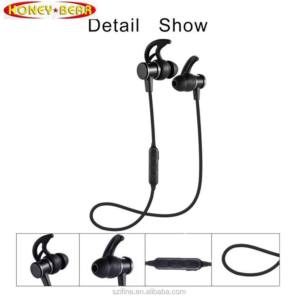 Magnet metal Design Stereo in-ear earphones headphons <strong>bluetooth</strong> wireless 4.1wireless earphones <strong>bluetooth</strong> for sport