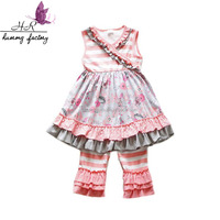 newest hot sale striped floral print dress outfits match ruffle pants import baby clothes se Kids Cotton Dresses Clothing Outfit