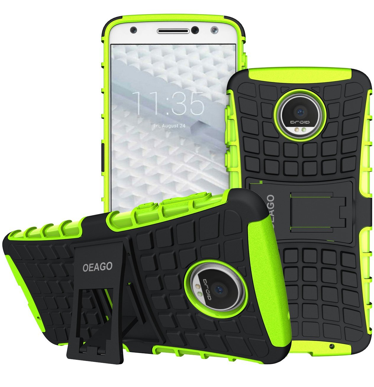 Moto Z Droid Case, OEAGO Motorola Z Droid Case [Shockproof] [Impact Protection] Tough Rugged Dual Layer Protective Case with Kickstand for Moto Z / Moto Z Droid Edition (NOT for Moto Z Force) - Green