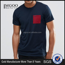 2017 Mgoo Brand Logo Custom Embroidered Pocket T Shirt 100% Cotton Short Sleeve Contrast Red Pocket Men Tops