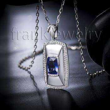 Genuine aaa natural blue tanzanite diamond mens pendant in solid 18k genuine aaa natural blue tanzanite diamond mens pendant in solid 18k white gold pendant 750 mozeypictures Choice Image