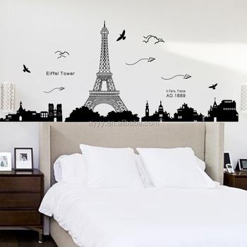 Kk049 Eiffel Tower Paper Airplane Decorative Vinyl Wall Stickers Diy Home Decor Wall Decal