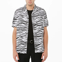 패션 옷 short sleeve zebra stripe print man shirts