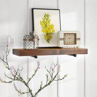 Floating Wall Shelf with Industrial Pipe Brackets Solid Wood Rustic Wall Mounted Shelving Storage Farmhouse Wall Decor
