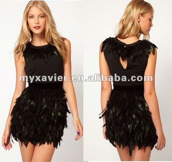 Exclusive Dress With Feather Skirt Plus Size Peplum Dress - Buy Plus ...