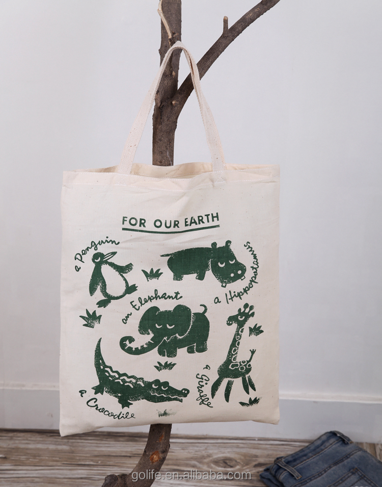 For our earth theme green animal canvas shopping bag