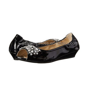 e428ca9d3307 2015 Spring new model women wedge heel casual shoes peep toe patent leather  with diamond women