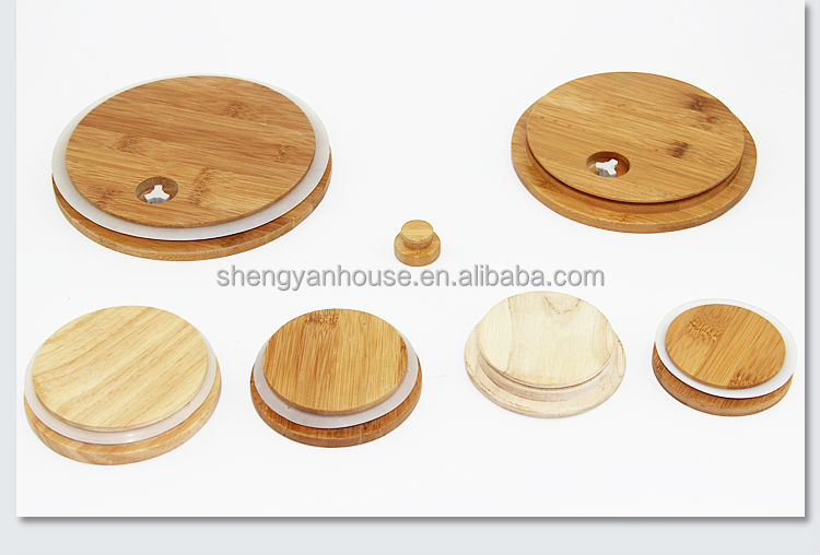 Customized Tea Candy Glass Canister Wooden Lids With