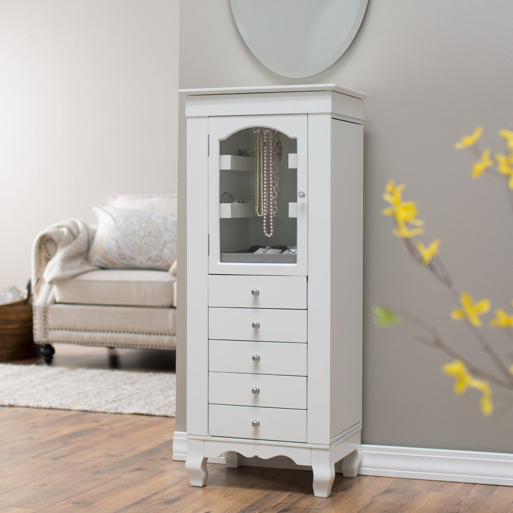 Exceptionnel Comfortable Wood Free Standing Shabby Chic Furniture, White Jewelry Armoire