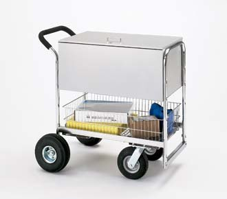 Charnstrom Medium Solid Metal Cart with Cushion Grip Handle and Locking Top (B269)
