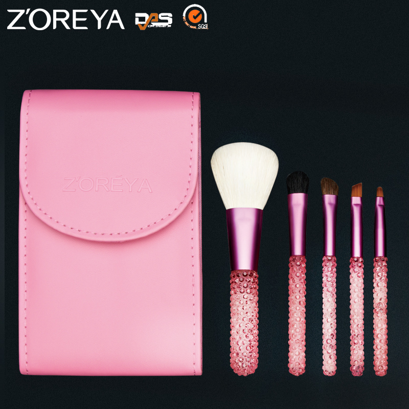Stock Wholesale ZOREYA 5pcs Natural Hair Shiny Crystal Mini Makeup Brush Set