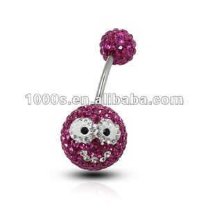 Multicolored Crystal Belly Button Ring