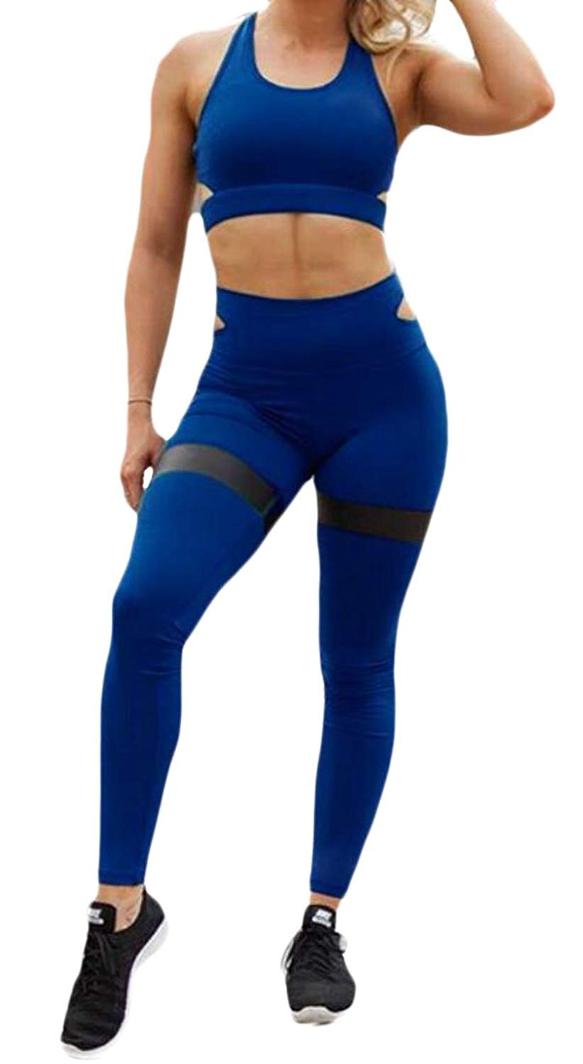 OTW-Women Workout Two Piece Outfits Crop Top and Leggings Pants Solid Yuga Outfits
