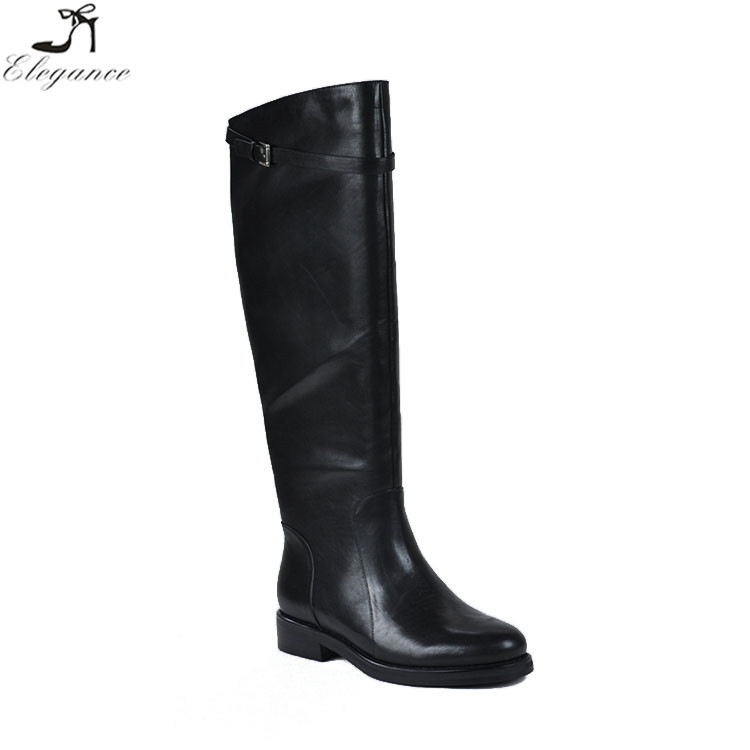 High Quality Wholesale Custom Printing Black Leather Over Knee High Flat heel For Women Alibaba Shoes Winter Rain Boots