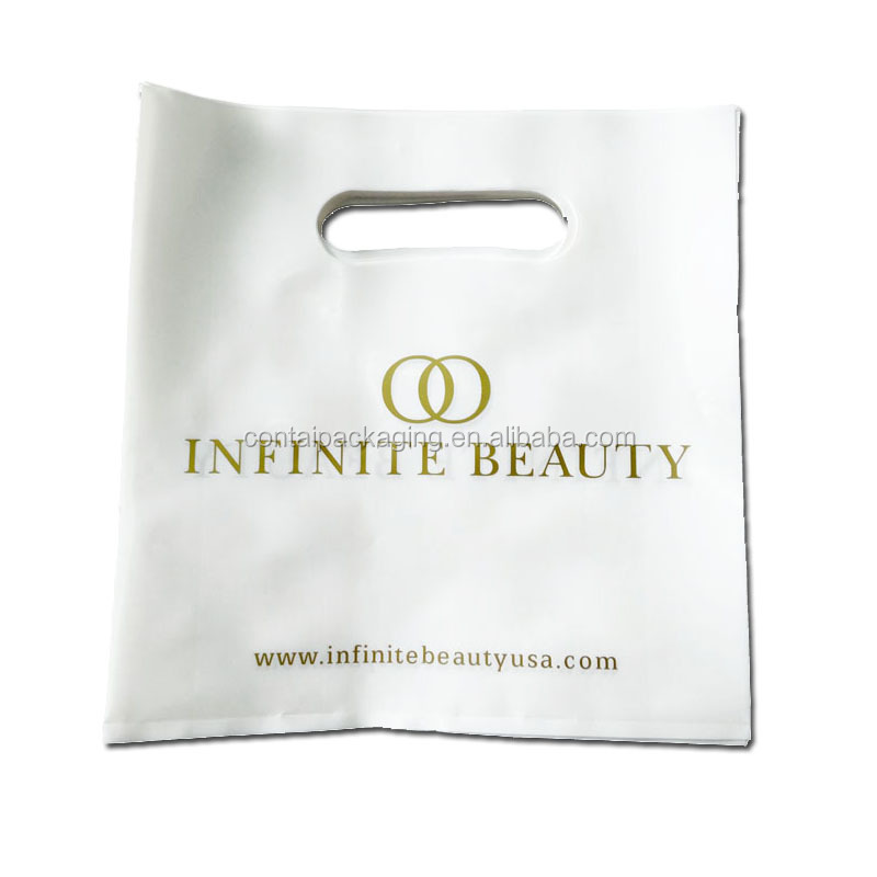 Eco-friendly reusable die cut handle plastic shopping pe bag packing for garment / clothing / gift