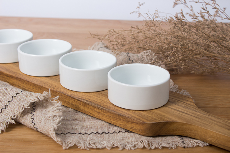 Custom butter soy sauce spice wood tray set of 4 round dish white ceramic dish set