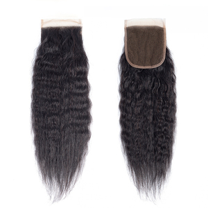 Luxefame Indian Hair Closure Yaki Straight Free/Middle/Three Part Natural Color 4x4 Swiss Lace Remy Human Hair Closure