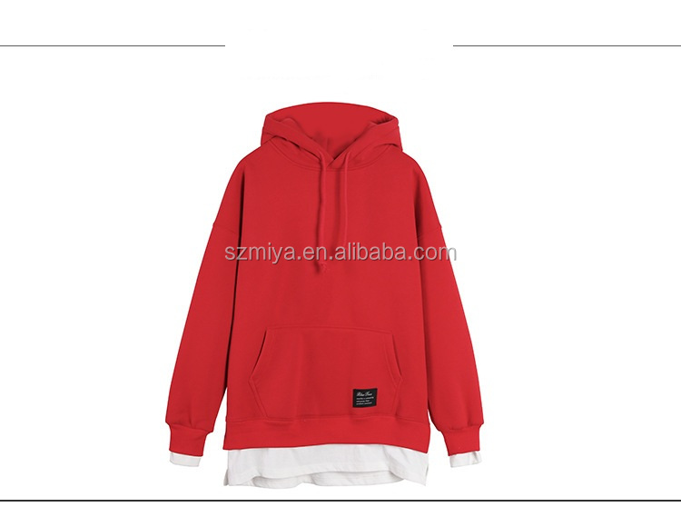 Casual Loose Oversize Pullover Sweatshirts Cropped CVC Plain womens hoodies