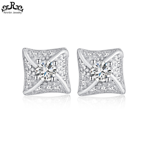 RIPSE31 Korean Jewellery Manufacturers 925 Earring Stud Square Earring Crystal Zirconia Jewels