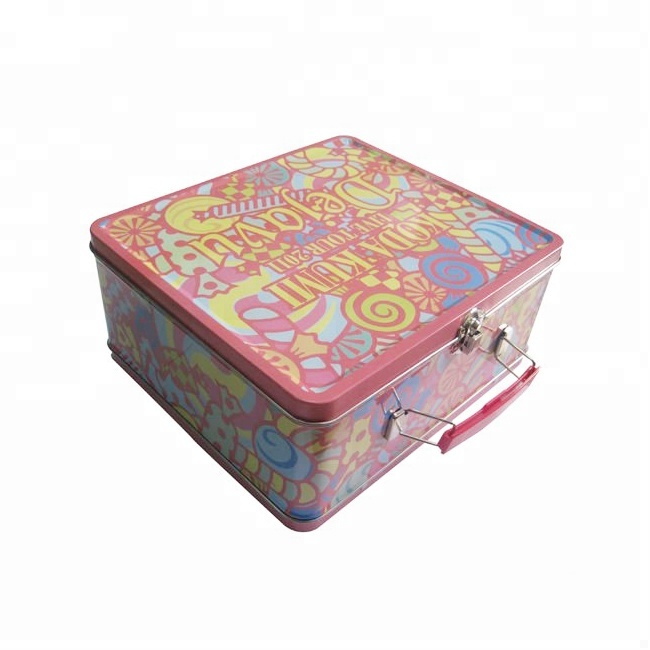 Lunch blikken doos met handvat en slot/custom design tin lunchbox