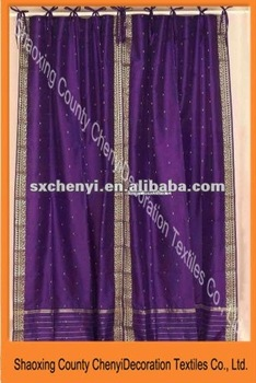 Indian Purple Polyester Printed Fabric Drapes, Panels, Curtains Curtain