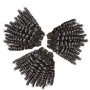 "Bella Hair Mixed Length 10"",12"",14"" Brazilian Bouncy Curls 3pcs 100% Human Virgin Curly Hair Weft Weaving Funmi Hair 100g Natural Black Color"