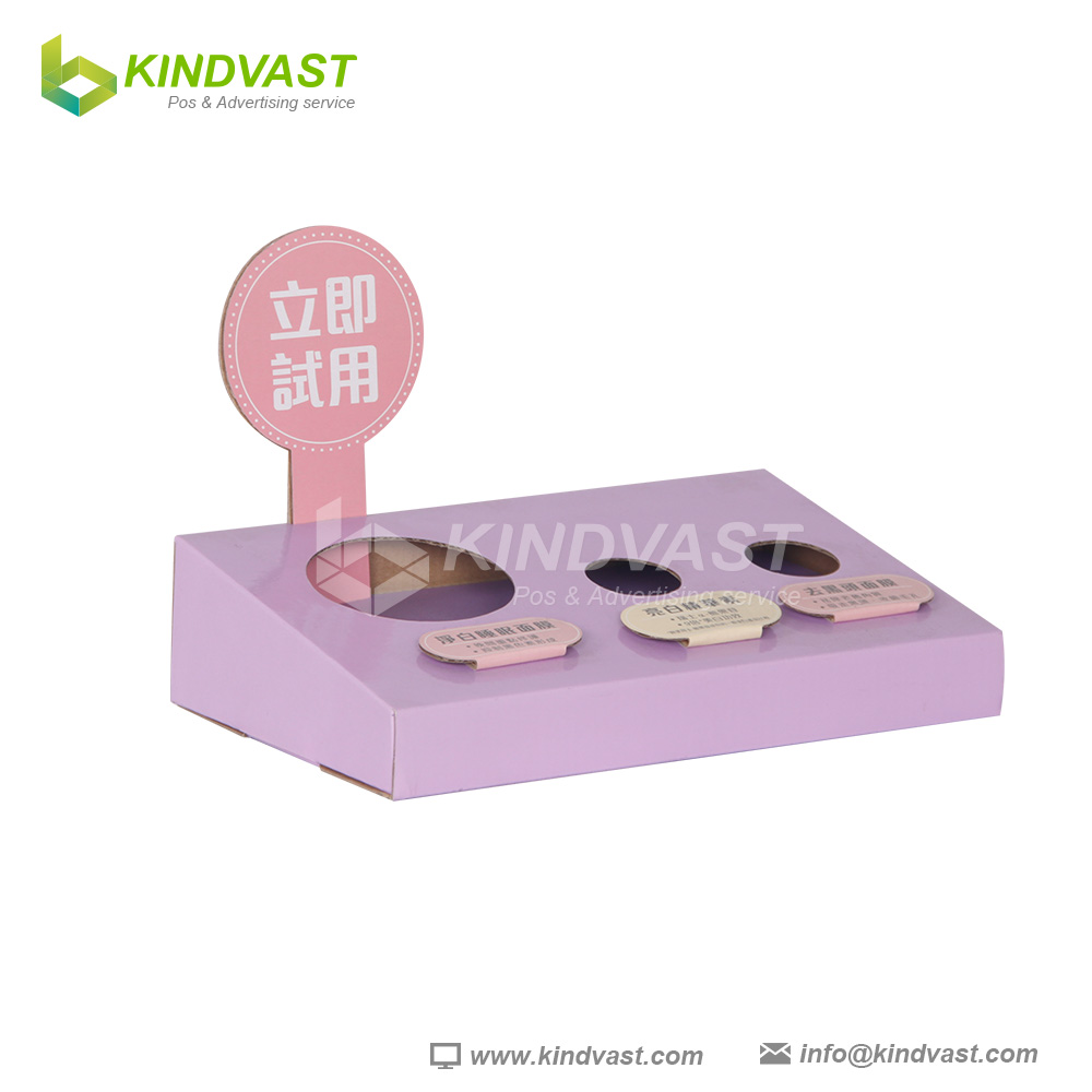 skin care makeup products testing cardboard counter display tray PDQ