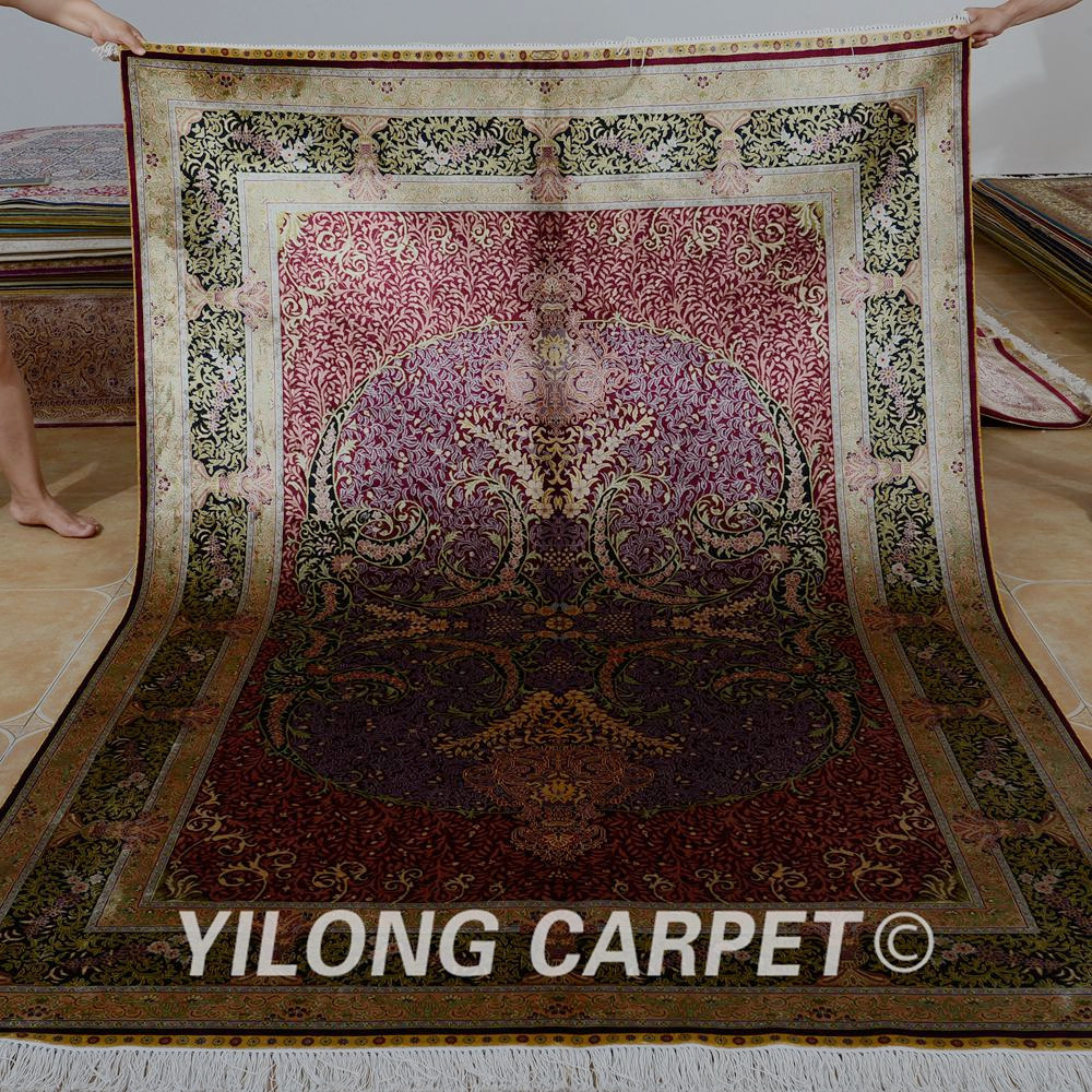 Yilong 5.5'x8' iran handmade carpet turkish vintage wine red silk persian rugs for sale