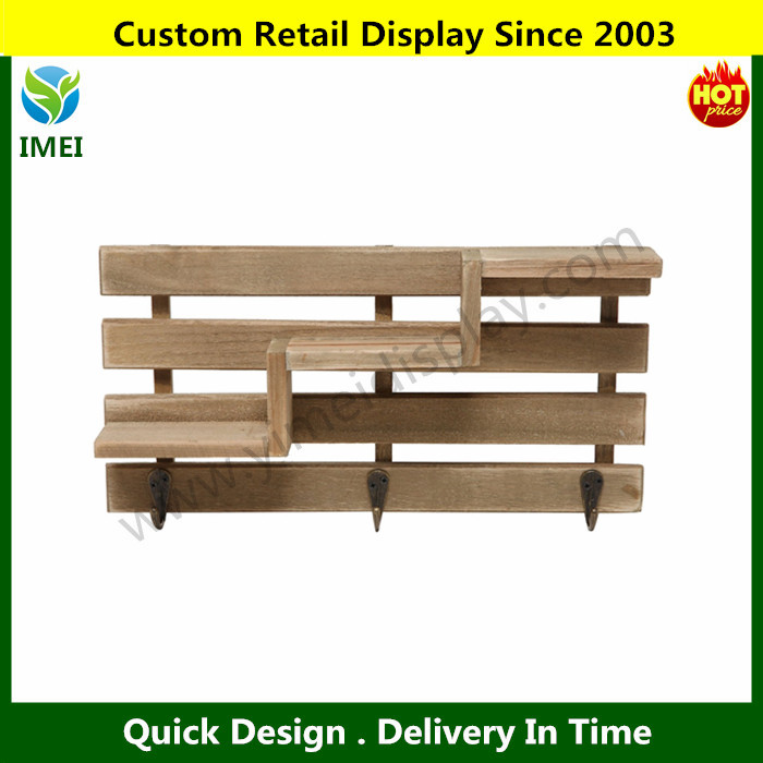 Rustic Brown Wood Slatted Wall Mounted Storage Rack W 3 Stair Step Style Shelves 3 Hanger Key Hooks Ym5 1094 Buy Wall Mounted Clothes Hanger