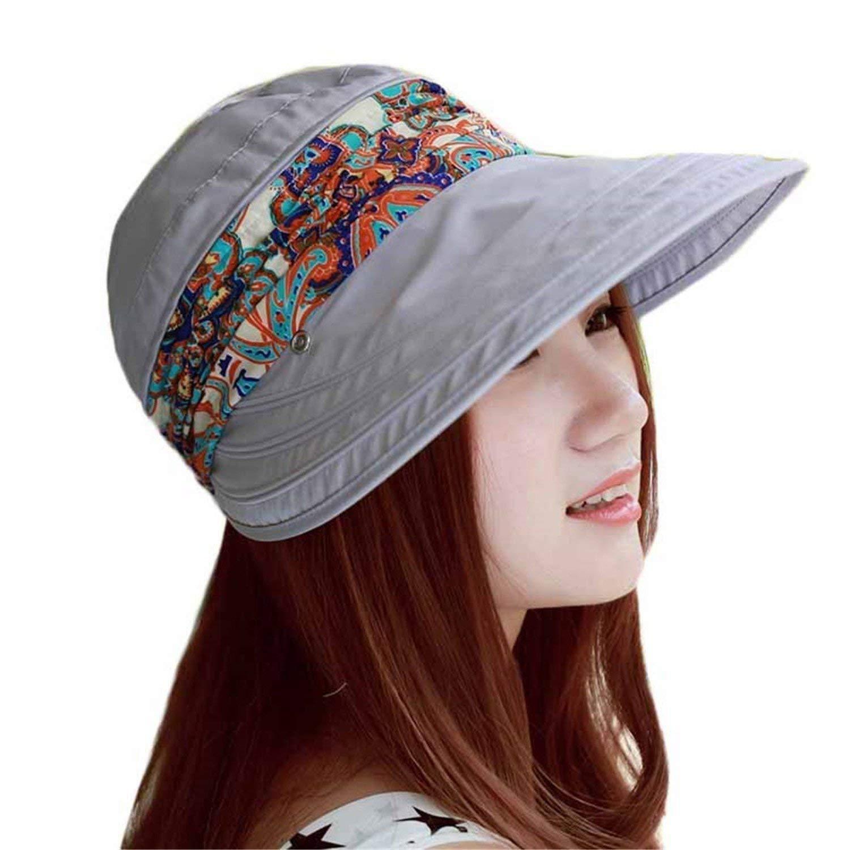 480d5cdaa9a Get Quotations · Sun Hats Summer Hats for Women Beach Hat Sun Visor Hat  Visor One Size Grey OneSize