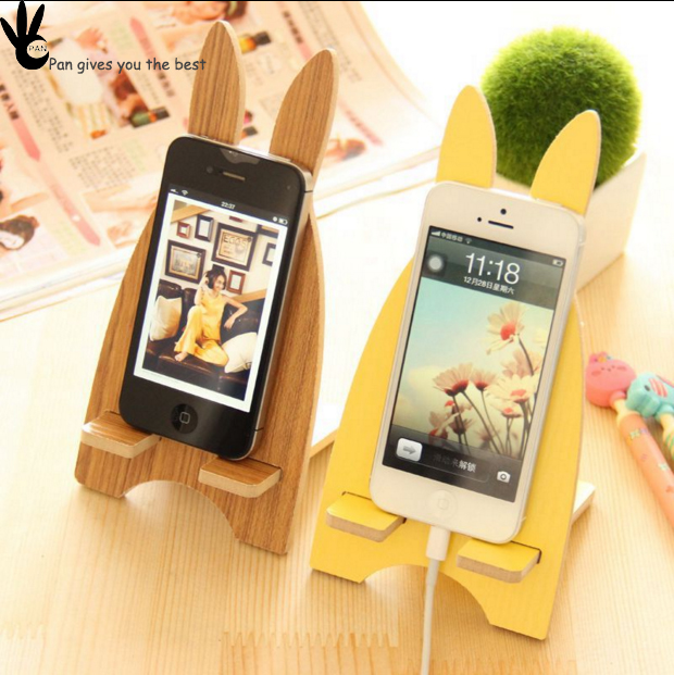 Pan High quality cute painting desktop funny wooden mini mobile cell phone holder