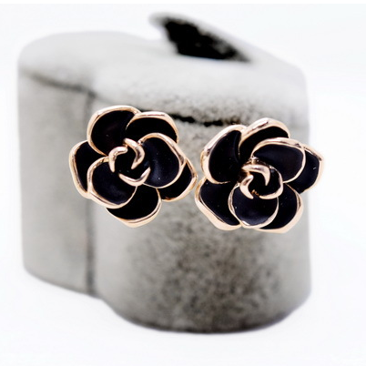 2019 Fashion Gold Plated Black <strong>Rose</strong> <strong>Flower</strong> Stud <strong>Earrings</strong> for Women
