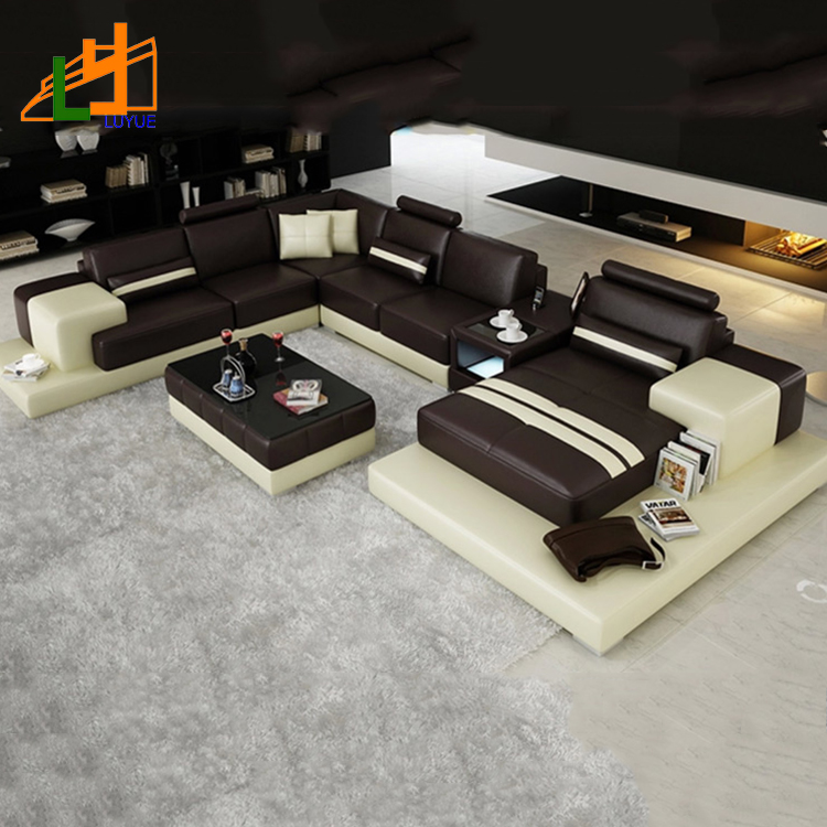 Luxury Modern Sectional 7 Seater L Shaped Sofa Used Living Room Furniture  Corner Leather Sofa Set - Buy Leather Sofa Set,Used Leather Sofa,Leather ...