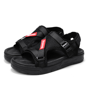 YT shoes Fashion Solid Black Sandals For Boy Breathable Cloth Non-slip Wear Resisting Rubber Sole Shoes