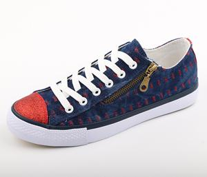 Navy Jeans With Red Thread with Fake Zipper Typical Shoes