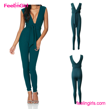 Big Quantity Green V Neck Sleeveless Fashion New Design Rompers Jumpsuits Buy Rompers