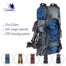 Hot Sale Nylon Men's Climbing Backpacks 60L Waterproof Sport Mountaineering Bags 5 Colors Travel Outdoor Bag Hiking Backpack