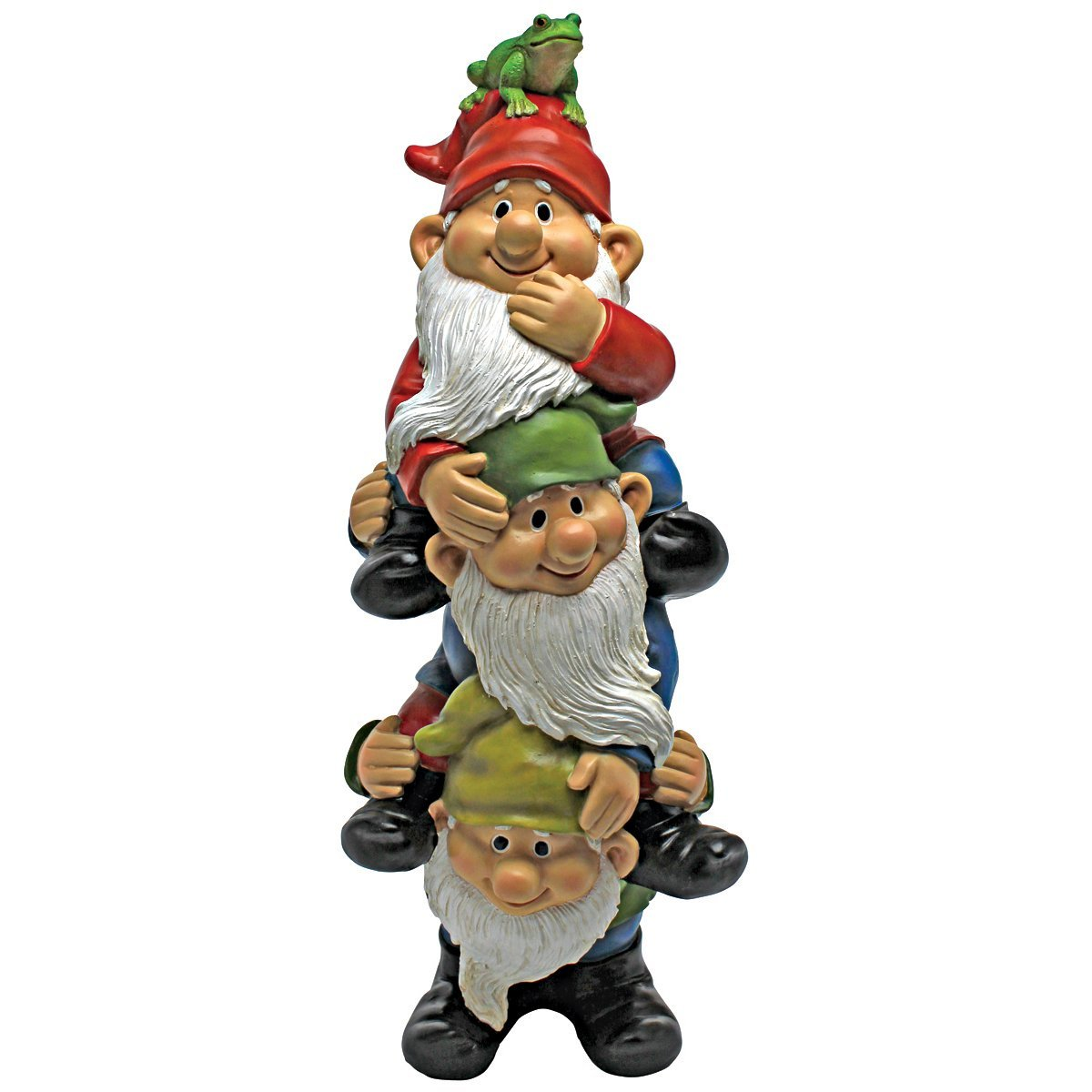 Design Toscano Garden Gnome Statue - Tower of Three Gnomes - Outdoor Garden Gnomes - Funny Lawn Gnome Statues