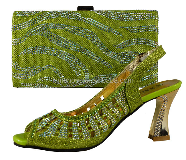 Stones African Bags High Lemon Heeled Ladies Fashion Set Shoes KL11 With Matching Shoes And Party For And Bags Green Italian UY5qwYg